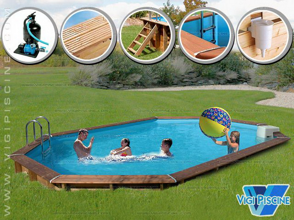 Kit piscine semi enterr e bois sunbay jawa ovale x 4 for Kit piscine bois semi enterree