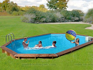 Kit piscine semi enterr e bois sunbay jawa ovale x 4 for Kit piscine semi enterree