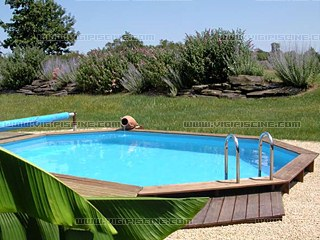 Kit piscine semi enterr e bois california elite ovale 10 4 for Kit piscine semi enterree