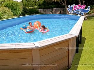 Kit piscine hors sol bois composite davao luxe ovale for Piscine en bois composite hors sol