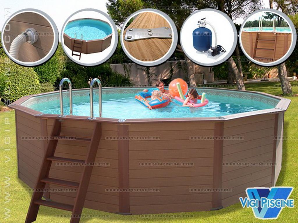 edg kit piscine hors sol bois composite davao luxe ronde 525m x 134m - Piscine Hors Sol Composite