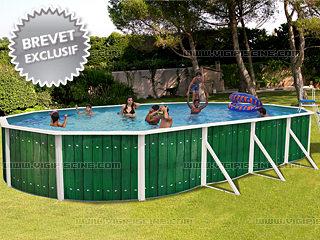 Kit Piscine Horssol Acier DAKOTA Ovale Décoration Bois X X - Deco piscine hors sol