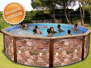 kit piscine hors sol acier sierra luxe ronde decoration pierre 460m x 120m - Decoration Piscine Hors Sol