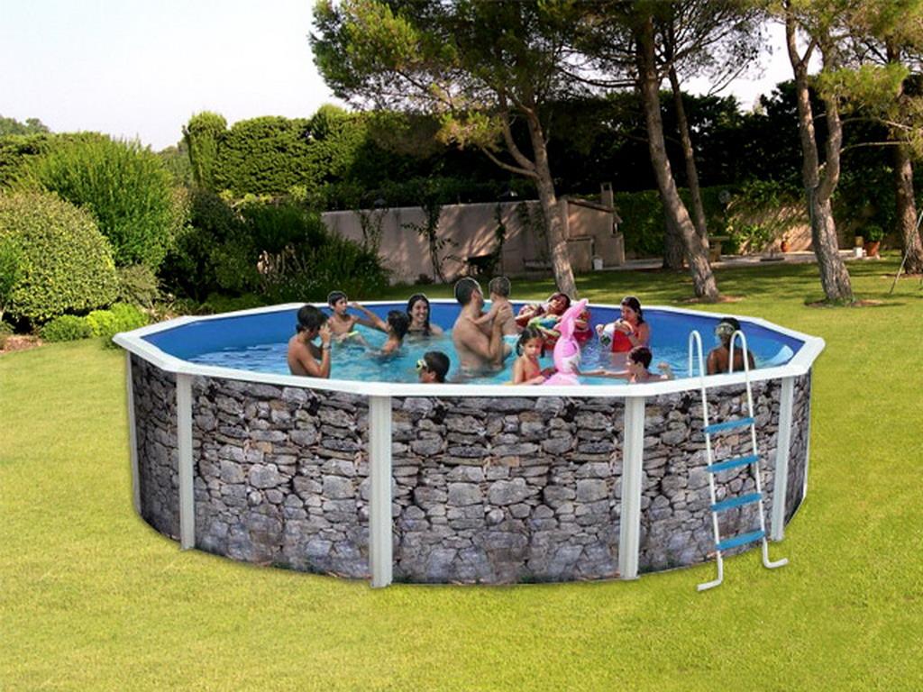 kit piscine hors sol acier toi piedra gris ronde x d cor pierre sur. Black Bedroom Furniture Sets. Home Design Ideas
