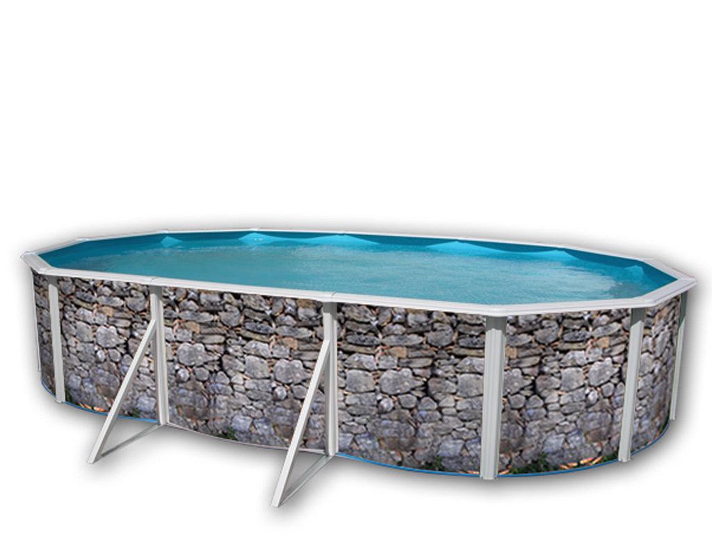 Piscine En Pierre Hors Sol kit piscine hors-sol acier toi piedra gris ovale 6.40 x 3.66 x 1.20m décor  pierre