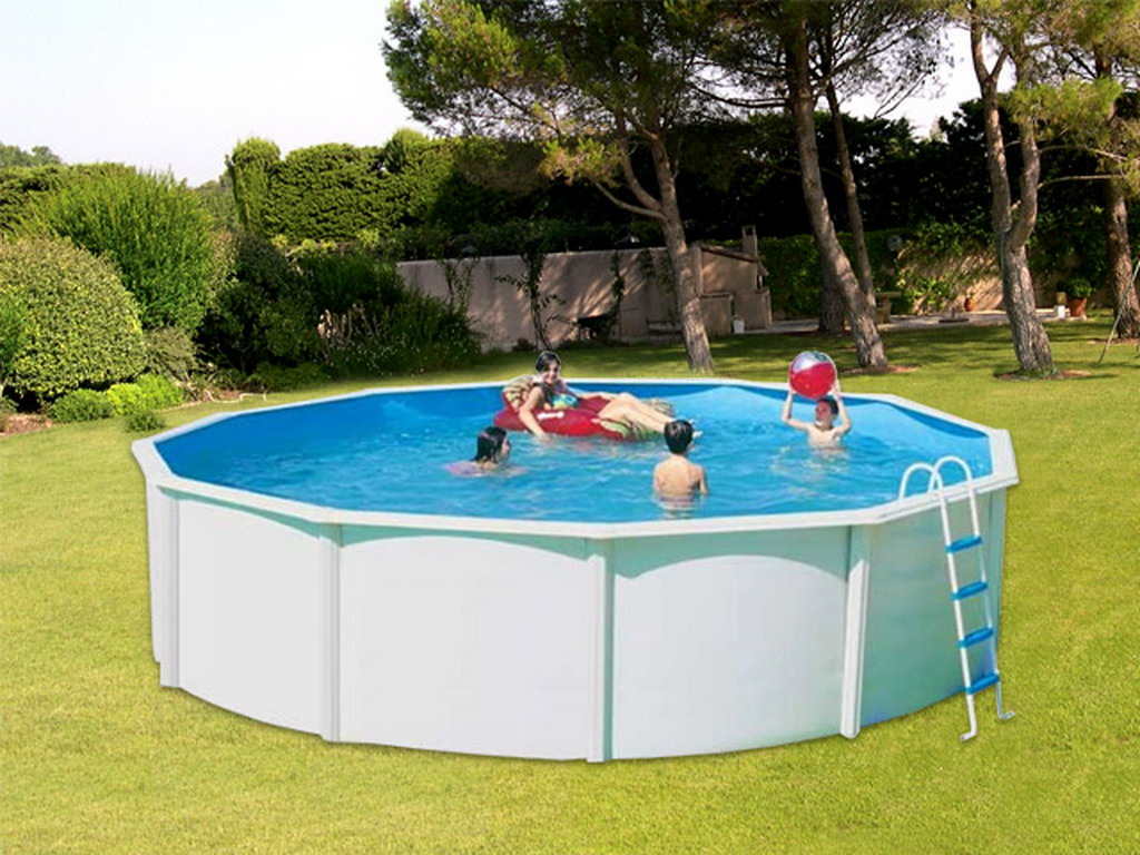 kit piscine hors sol acier toi canarias circular pack ronde x laqu blanc sur
