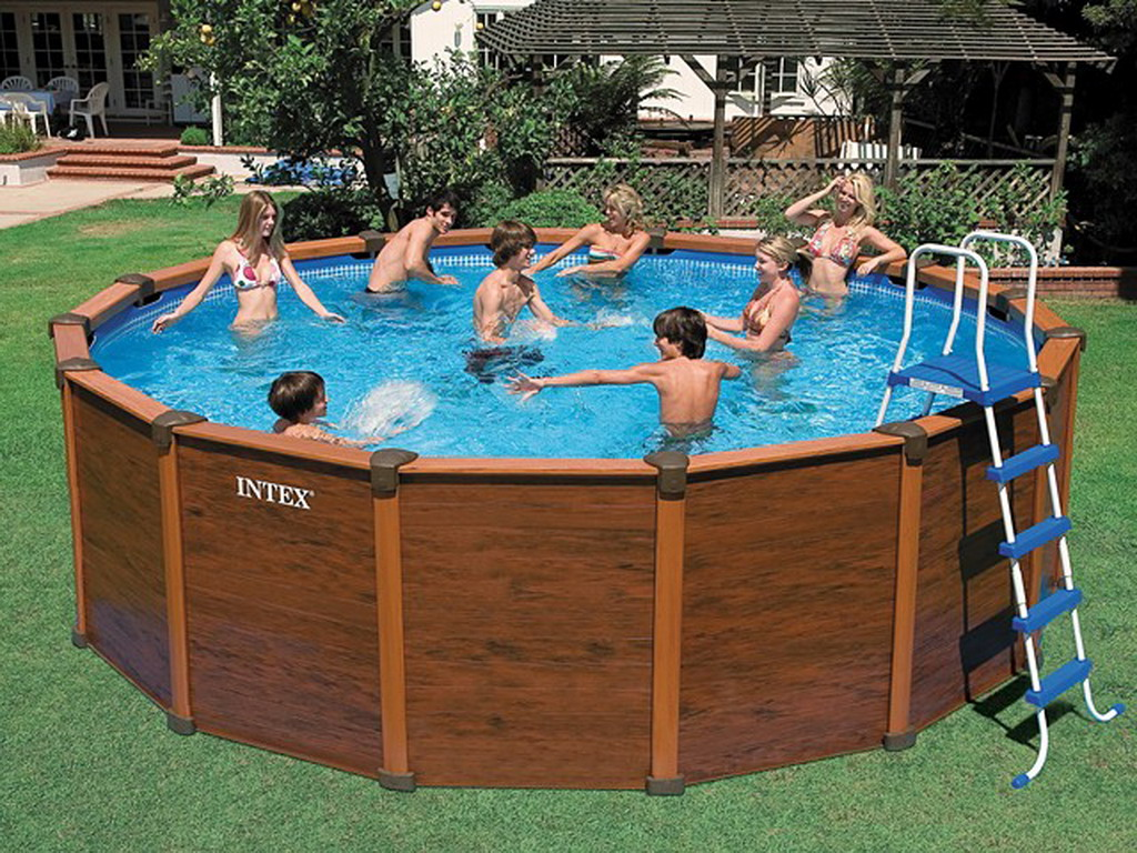 Kit piscine hors sol acier intex sequoia spirit luxe ronde - Piscine rectangulaire hors sol intex ...