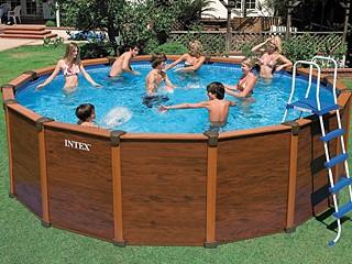 kit piscine hors sol acier intex sequoia spirit luxe ronde aspect bois x sur. Black Bedroom Furniture Sets. Home Design Ideas