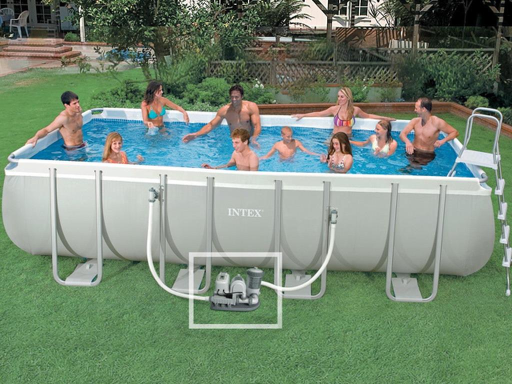 kit piscine hors sol tubulaire intex ultra silver rectangulaire x x 1 cadeau. Black Bedroom Furniture Sets. Home Design Ideas