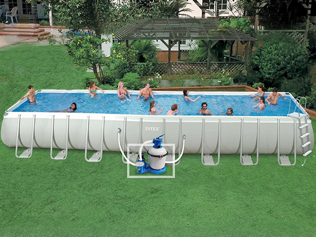 Kit piscine tubulaire intex ultra silver rectangulaire 975 for Piscine 3 boudins intex