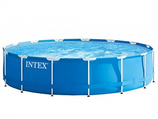 Intex - Kit piscine tubulaire Intex METAL FRAME ronde Ø457 x 122cm avec filtration a cartouche 3.8m3/h