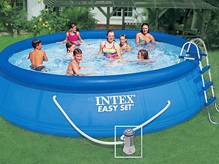 Kit piscine hors-sol autoportante Intex EASY SET ronde Ø457 x 107cm avec filtration debit 3.8m3/h