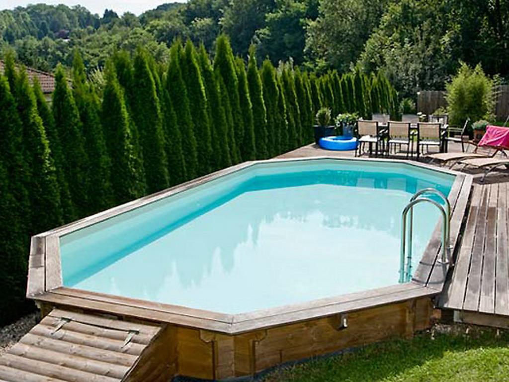 Kit piscine hors sol bois universo bois marquises ovale 8 5 x 4 6 x sur march - Piscine bois 6 x 4 ...