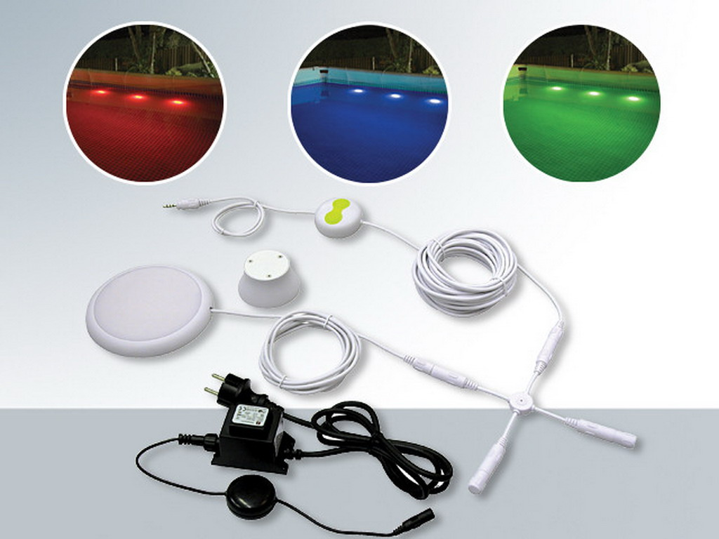 Kit clairage aqua light 3 couleurs sans per age pour for Eclairage piscine hors sol sans percage