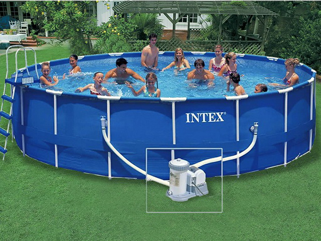 Kit piscine hors sol intex metal frame ronde x for Piscine hors sol intex 5 49