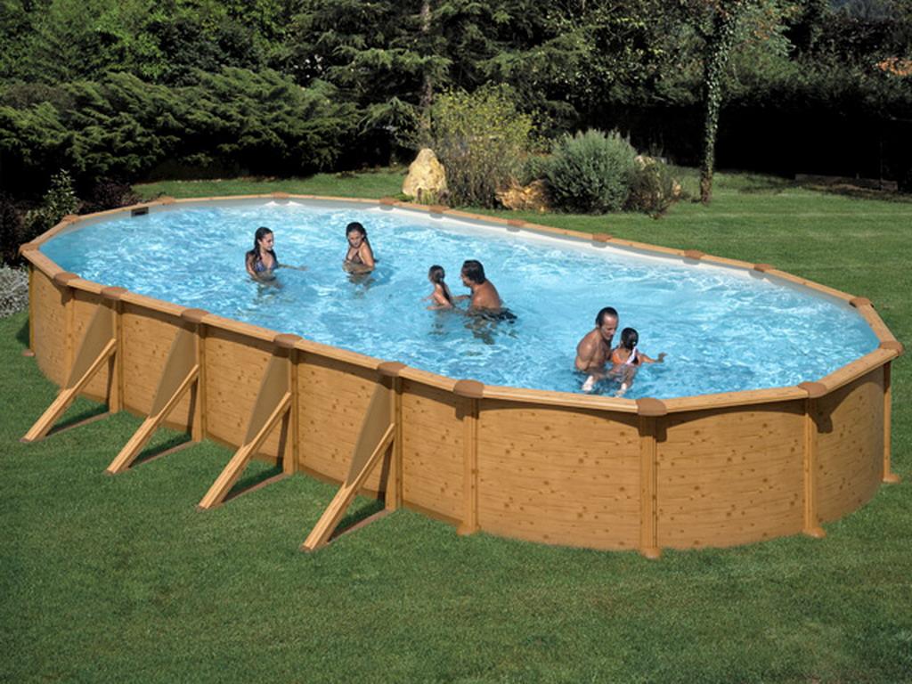 Etonnant Gré Pools   Kit Piscine Acier Gré DREAMPOOL Mauritius Ovale Aspect Bois  7.30 X 3.75 X 1.32m