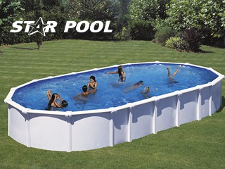 kit piscine hors sol acier starpool ovale 10 x 5 0 x sans renforts avec robot nettoyeur sur. Black Bedroom Furniture Sets. Home Design Ideas