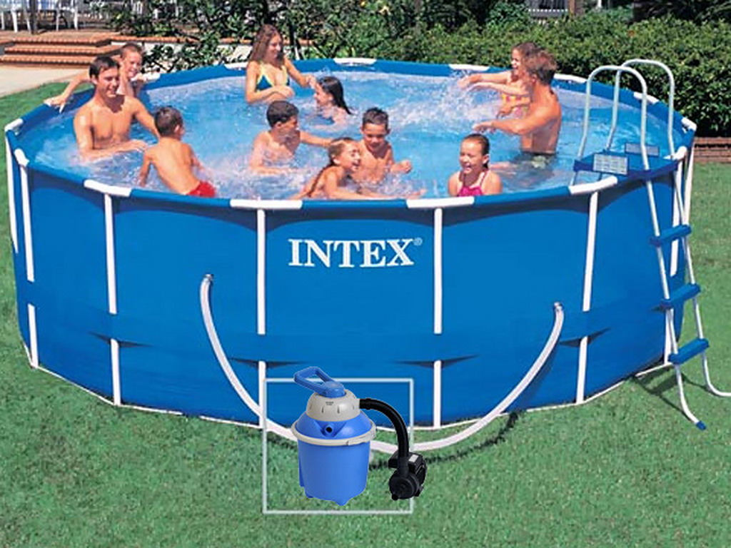 Kit piscine hors sol tubulaire intex metal frame ronde 4 for Piscine tubulaire intex 4 57 x 1 22m