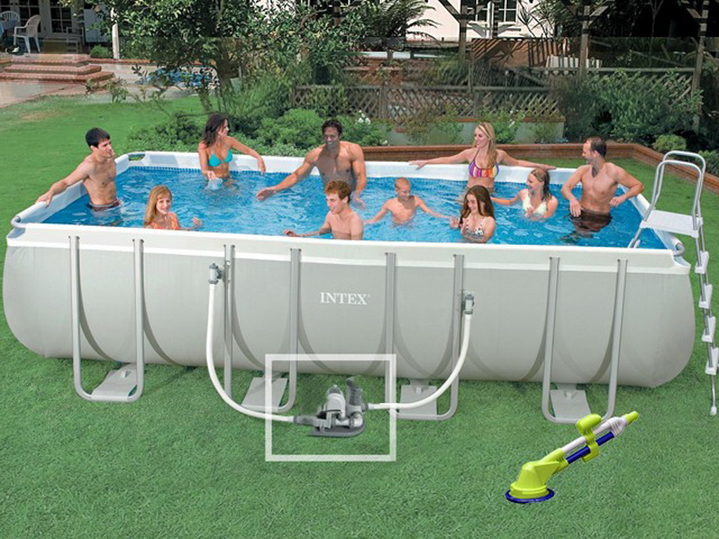 Kit piscine hors sol tubulaire intex ultra silver for Piscine intex hors sol rectangulaire