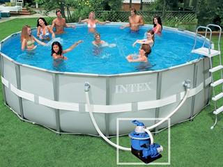 kit piscine hors sol tubulaire intex ultra frame ronde x avec filtre sable 1. Black Bedroom Furniture Sets. Home Design Ideas