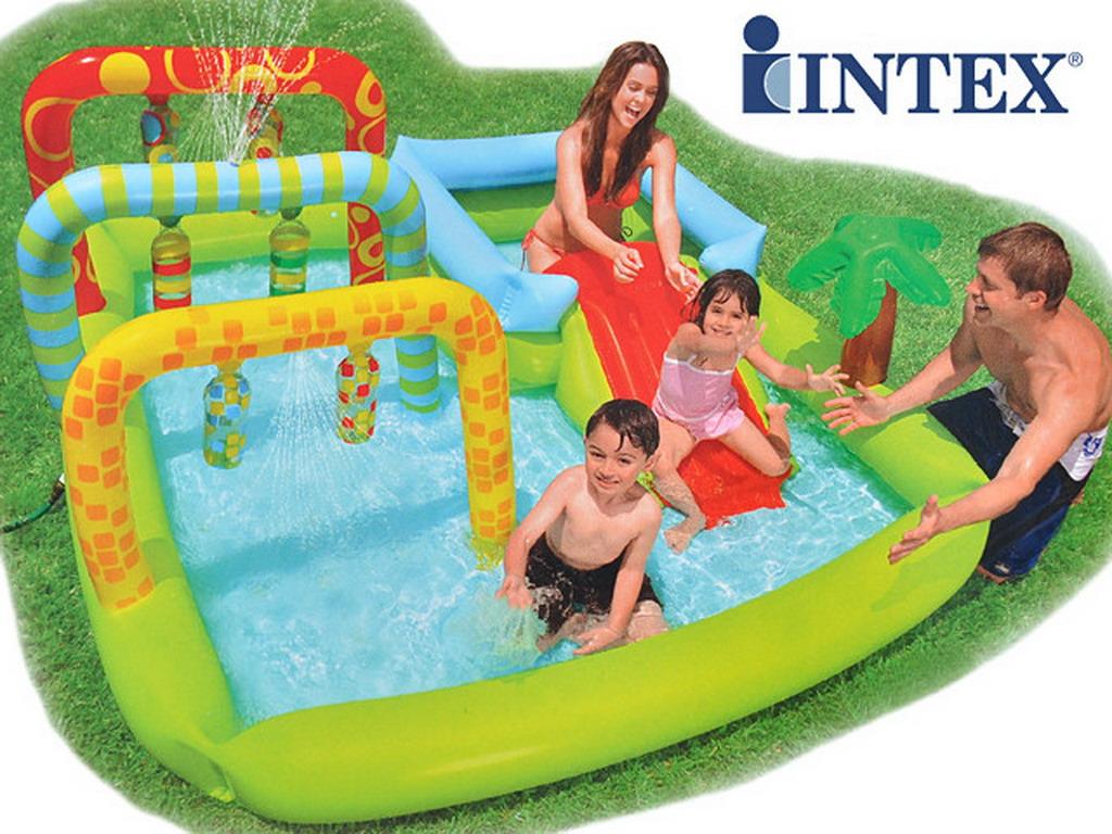 Aire de jeux gonflable intex 3 arches avec toboggan pour for Toboggan intex piscine