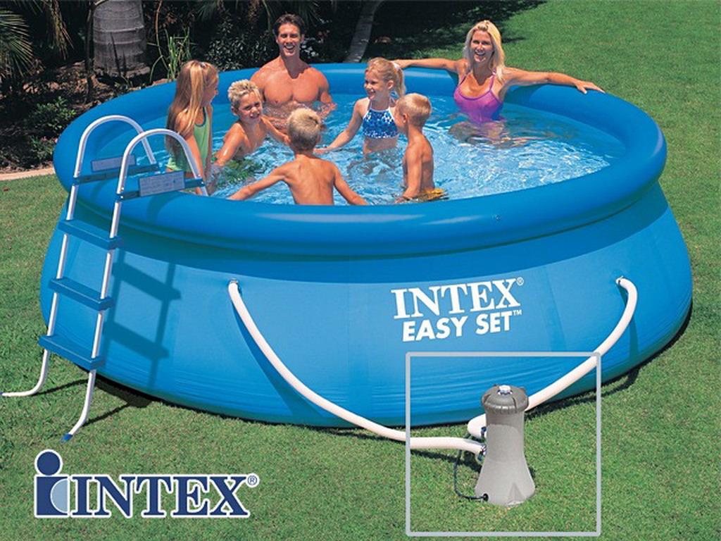 Piscine hors sol autoportante intex easy set ronde x for Piscine 3 boudins intex