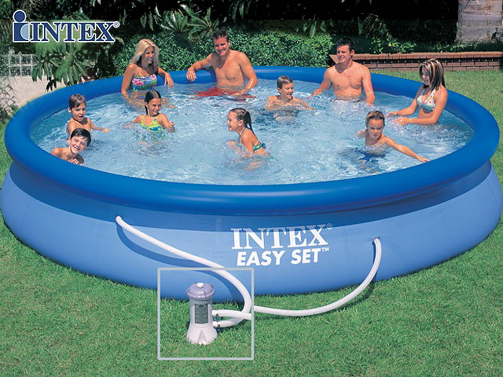 Kit piscine hors sol autoportante intex easy set ronde for Piscine de jardin gonflable