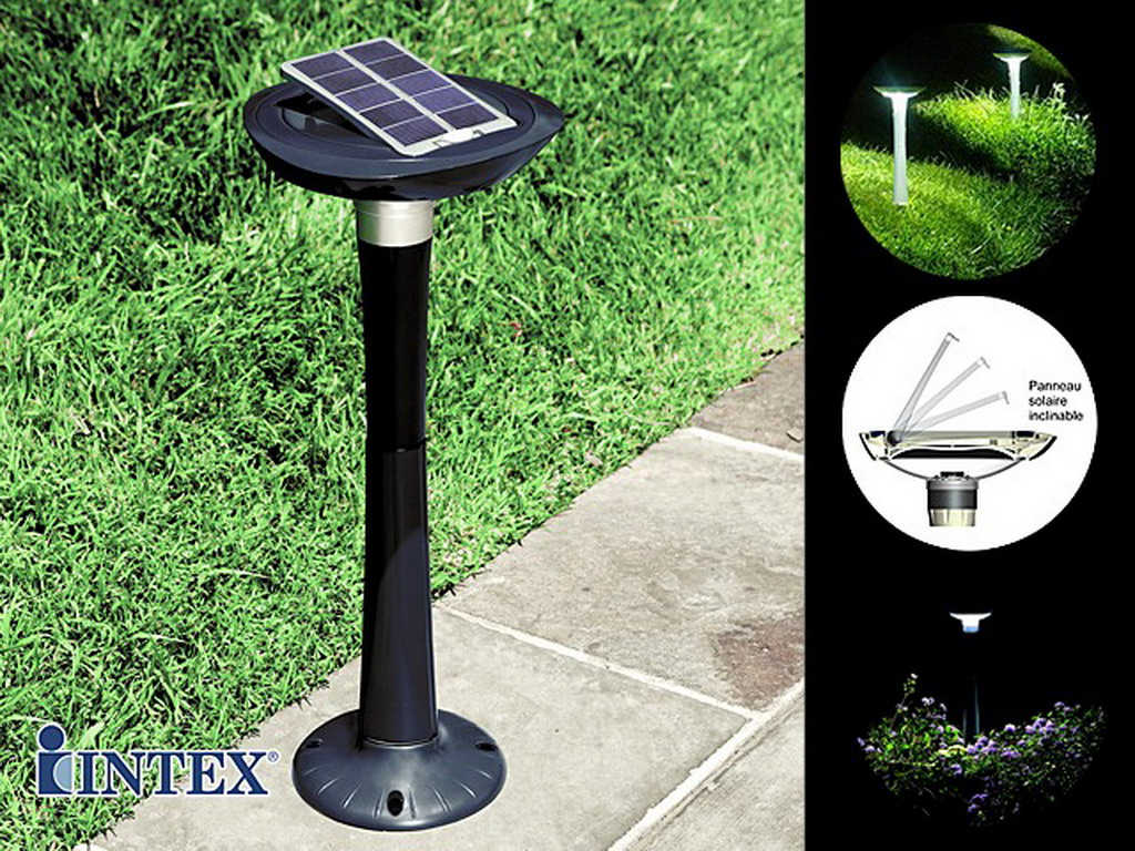 lumi re de jardin autonome intex led avec panneau solaire. Black Bedroom Furniture Sets. Home Design Ideas