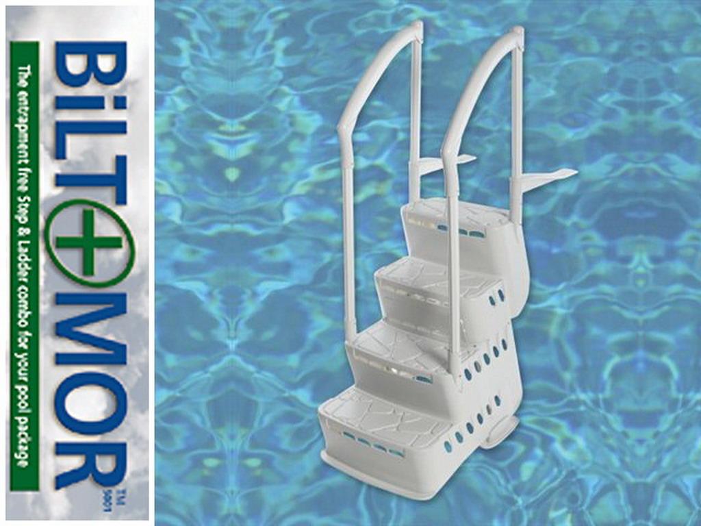Escalier int rieur escalio biltmor 4 marches avec mains courantes pvc piscine hors sol sur - Piscine hors sol avec escalier interieur ...