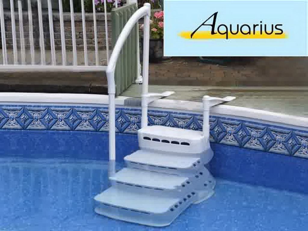 Escalier int rieur escalio aquarius pvc 4 marches avec main courante piscine hors sol sur - Piscine hors sol avec escalier interieur ...