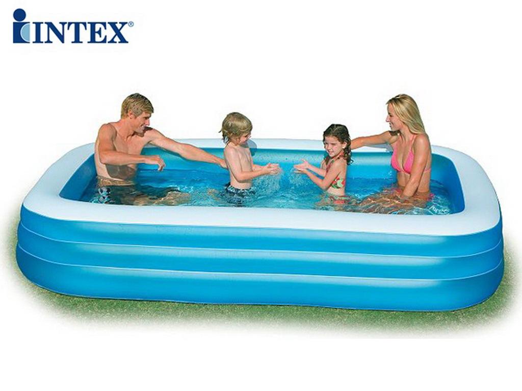 Piscine Rectangulaire Gonflable Intex Family Bleue 305x183x56cm Pour