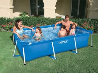 Piscine hors-sol tubulaire Intex METAL FRAME JUNIOR rectangulaire 220 x 150 x 60cm coloris bleu
