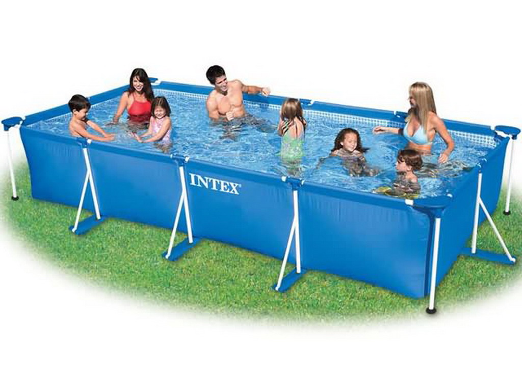 kit piscine tubulaire intex metal frame junior rectangulaire 450 x 220 x 84cm coloris bleu avec. Black Bedroom Furniture Sets. Home Design Ideas
