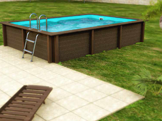 Kit piscine beton NATURALIS rectangulaire 4.67 x 3.24 x 1.30m aspect bois