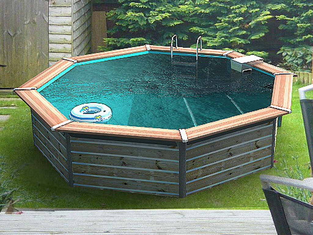 Kit piscine bois water clip flores octogonale 460 x 129cm for Eclairage piscine hors sol sans percage