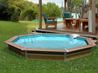 Beau Kit Piscine Bois Water Clip PLATINUM Octogonale Ø458 X 147cm Idees