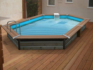 Kit piscine bois Water Clip PLATINUM hexagonale allongee 518 x 328 x 147cm