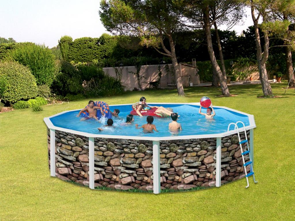 Piscine En Pierre Hors Sol kit piscine hors-sol acier toi muro ronde Ø6.40 x 1.20m décor pierre