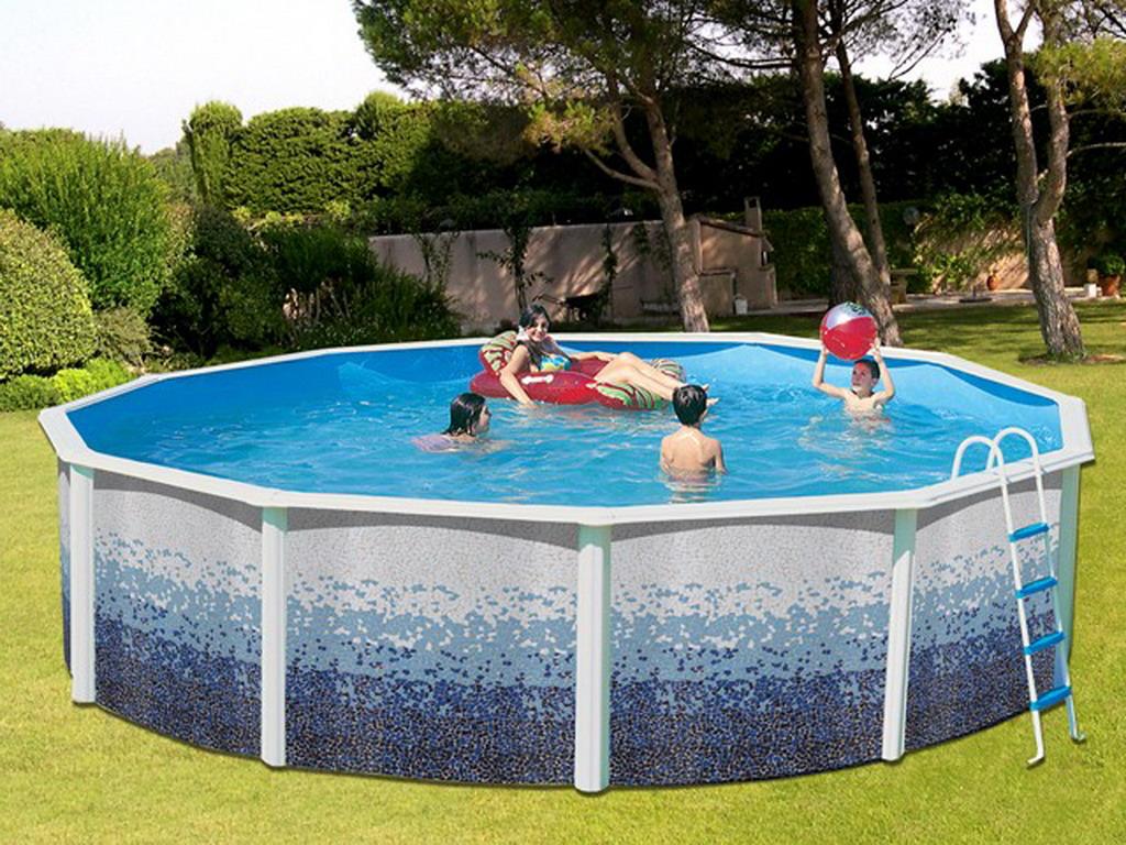 kit piscine hors sol acier toi trencadis ronde x 1. Black Bedroom Furniture Sets. Home Design Ideas