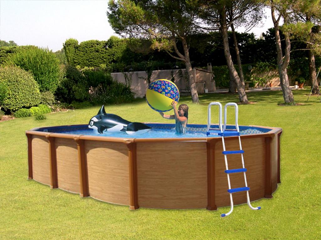 Kit piscine hors-sol acier Aqualux MAMBO ovale 730 x 370 x 132cm imitation  bois sur MarchédelaPiscine.com