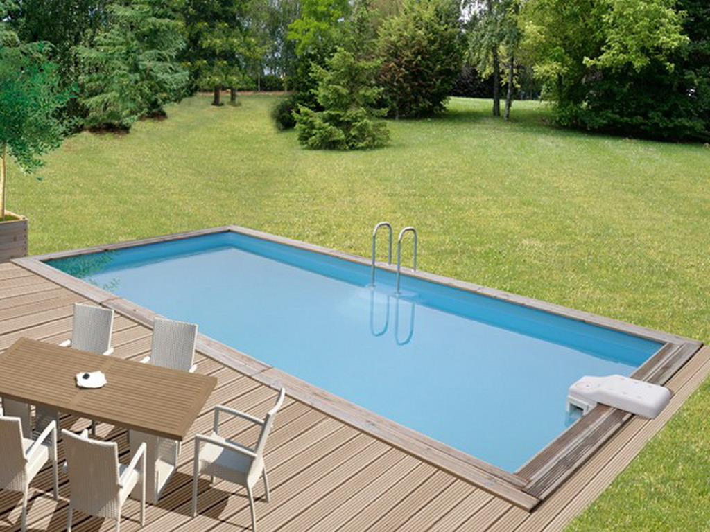 Kit piscine bois sunbay bahamas rectangulaire x 4 for Piscine en bois semi enterree