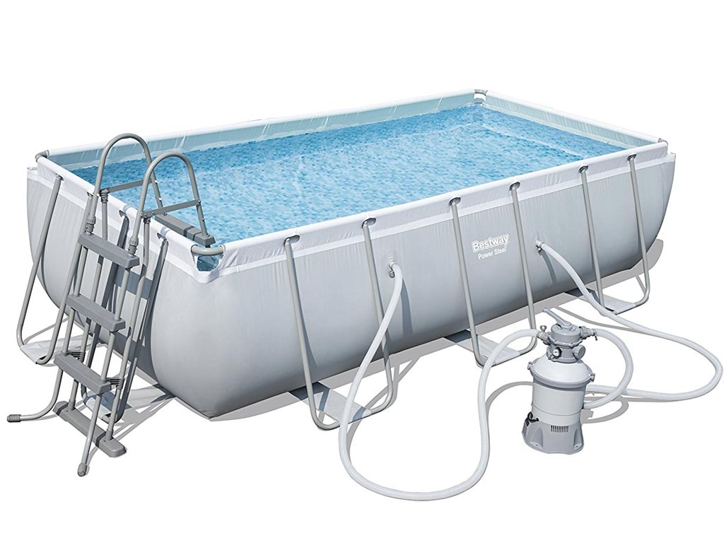 Piscine hors sol tubulaire bestway power steel frame pool rectangulaire 404x201x100cm filtration - Filtration sable piscine hors sol ...