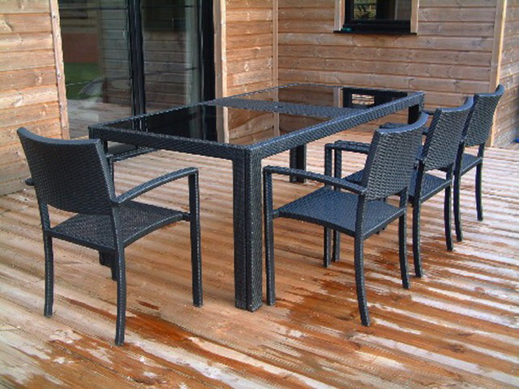 table de jardin r sine tress e 200cm x 100cm x 74cm. Black Bedroom Furniture Sets. Home Design Ideas