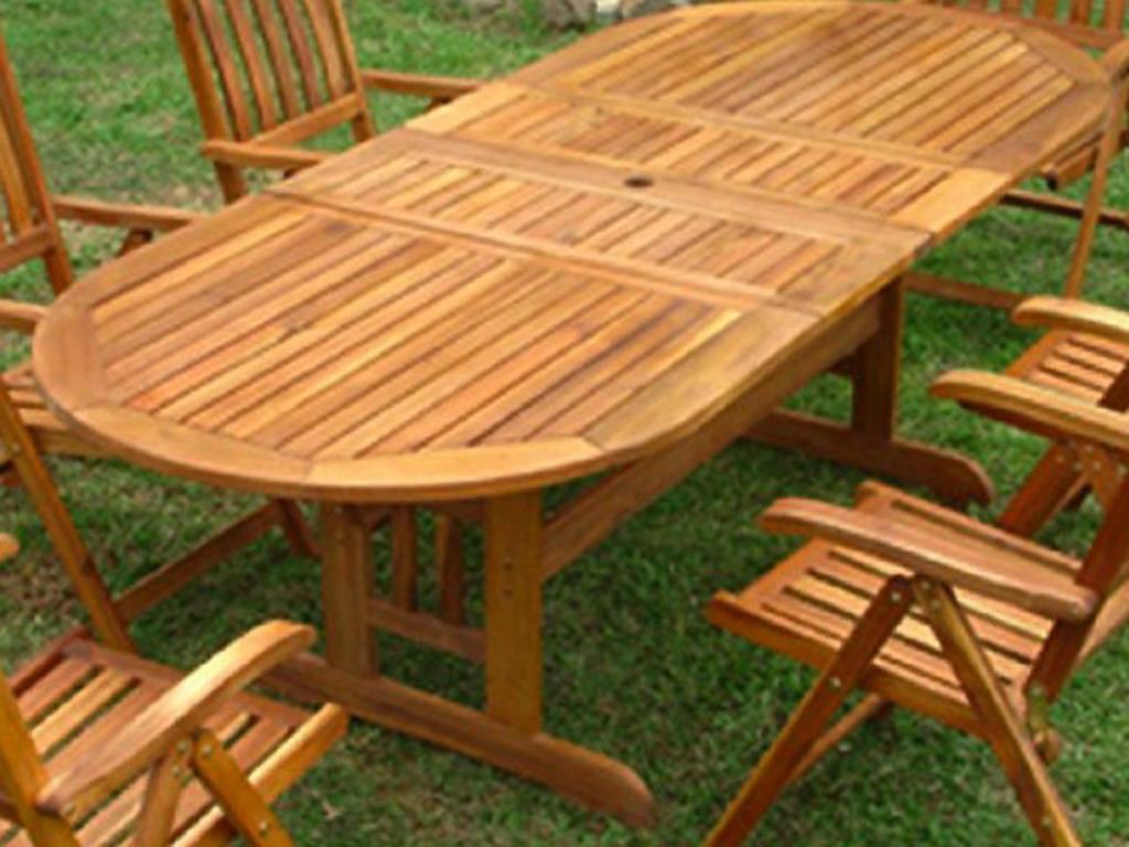 Table de jardin ovale bois ACAPULCO avec rallonges 180cm jusqu\'à ...