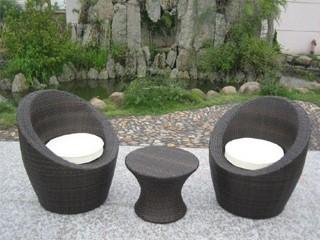 Salon de jardin TOTEM 3 pièces en résine tressée coloris chocolat et ...