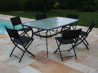 Table de jardin en aluminium plateau verre 182cm x 106cm x - Table de jardin noire asnieres sur seine ...