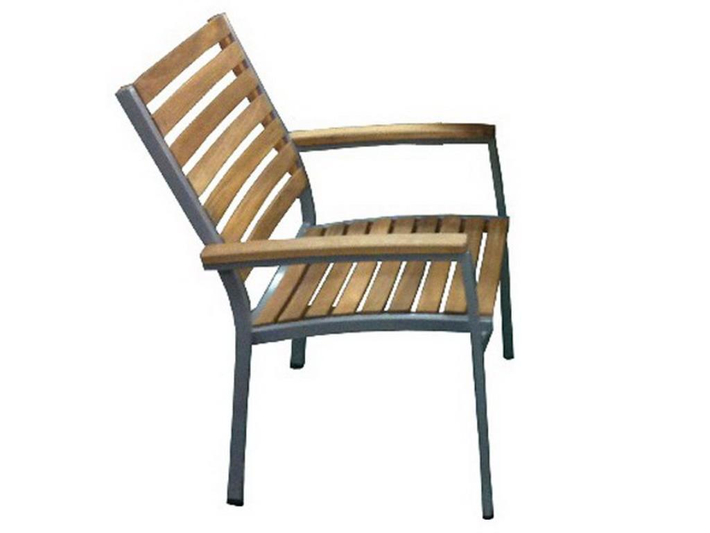 Fauteuil de jardin en aluminium et bois d 39 acacia 43cm x 40cm x 88cm sur march - Salon de jardin acacia et alu ...