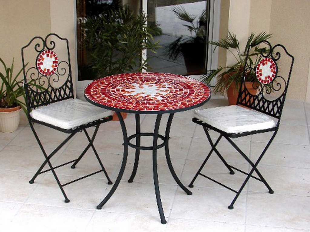 table gu ridon de jardin fer forg et mosa que rouge 76cm. Black Bedroom Furniture Sets. Home Design Ideas
