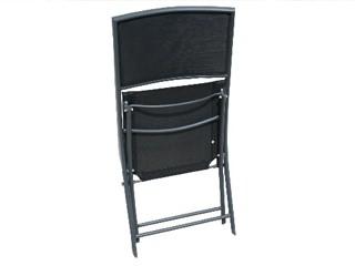 chaise large pliante de jardin aluminium et textil ne 44cm x 46cm x 83cm coloris noir sur. Black Bedroom Furniture Sets. Home Design Ideas