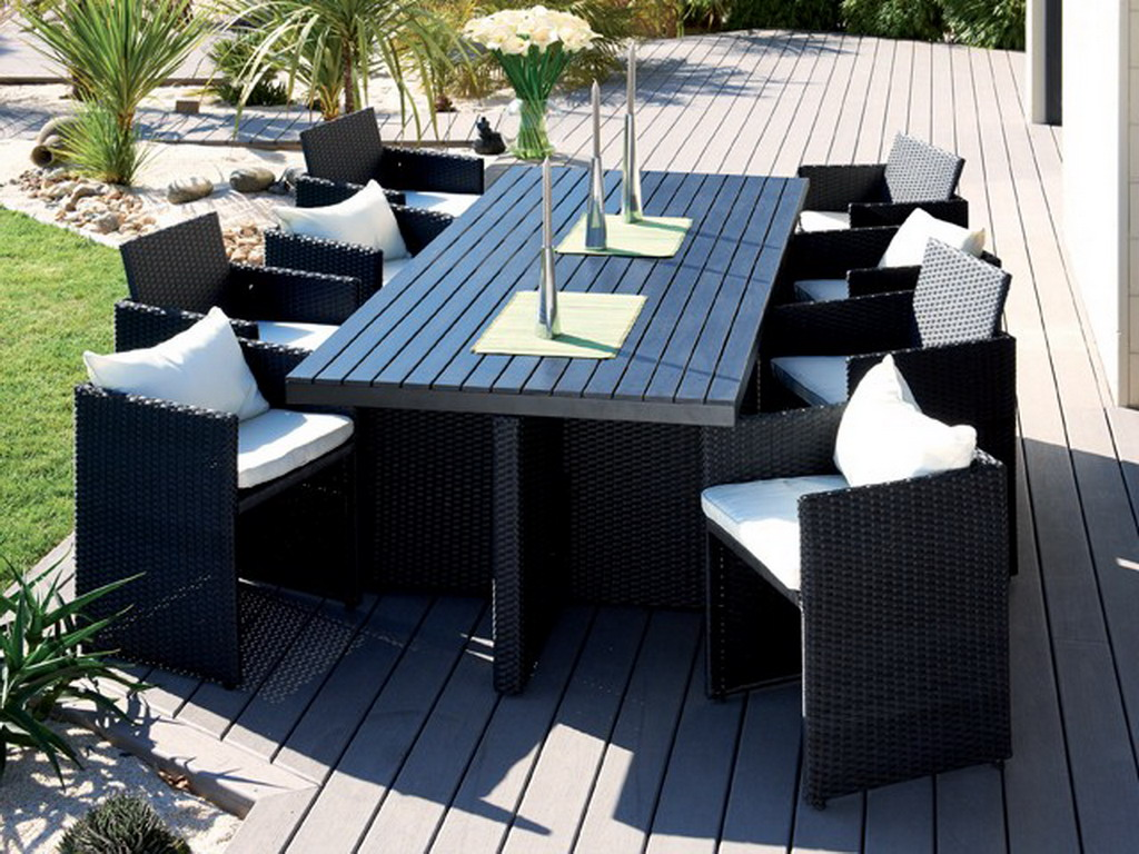 salon de jardin en r sine tress e plateau composite et 8 fauteuils encastrables coloris noir sur. Black Bedroom Furniture Sets. Home Design Ideas